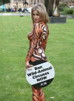 Joanna Krupa  bodypaint while protesting outside 9