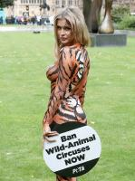 Joanna Krupa  bodypaint while protesting outside 10