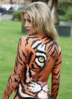 Joanna Krupa  bodypaint while protesting outside 13