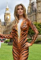 Joanna Krupa  bodypaint while protesting outside 16