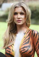 Joanna Krupa  bodypaint while protesting outside 17