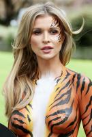 Joanna Krupa  bodypaint while protesting outside 18